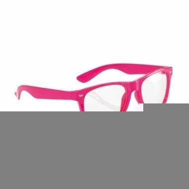 4x party bril neon roze voor volwassenen