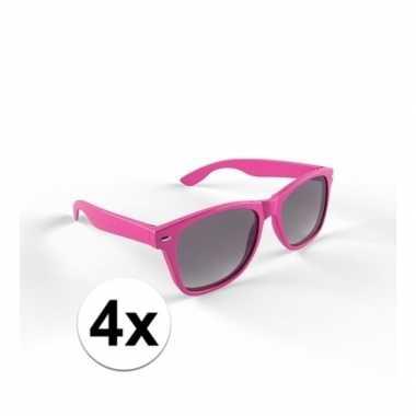 4x trendy zonnebrillen roze voor volwassenen