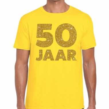 50 jaar fun jubileum t-shirt geel met goud voor heren