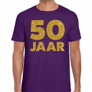 50 jaar fun jubileum t-shirt paars met goud voor heren