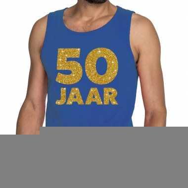 50 jaar fun tanktop / mouwloos shirt blauw voor heren
