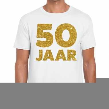 50 jaar jubileum fun t-shirt wit voor heren