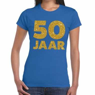50 jaar tekst fun verjaardag shirt blauw voor dames