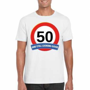50 jaar verkeersbord t-shirt wit volwassenen