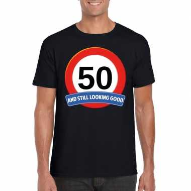 50 jaar verkeersbord t-shirt zwart volwassenen
