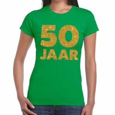 50e verjaardag cadeau t-shirt groen met goud voor dames