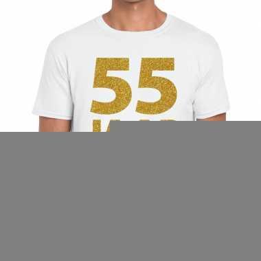 55e verjaardag cadeau t-shirt wit met goud voor heren