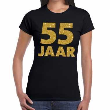 55e verjaardag cadeau t-shirt zwart met goud voor dames
