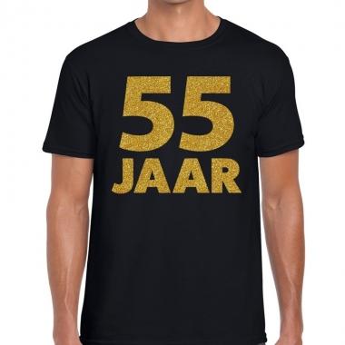 55e verjaardag cadeau t-shirt zwart met goud voor heren
