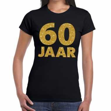 60 jaar fun t-shirt met gouden tekst zwart voor dames