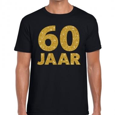 60 jaar gouden letters fun t-shirt zwart voor heren