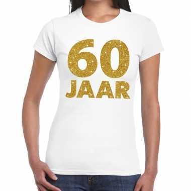 60e verjaardag cadeau t-shirt wit met goud voor dames