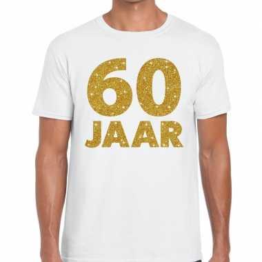 60e verjaardag cadeau t-shirt wit met goud voor heren