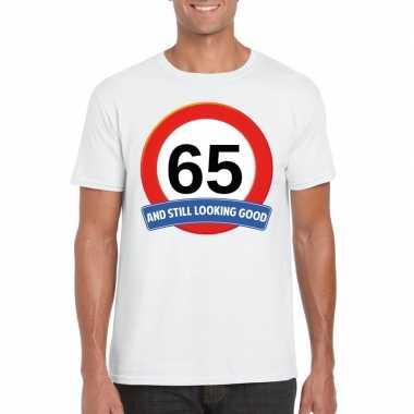 65 jaar verkeersbord t-shirt wit volwassenen