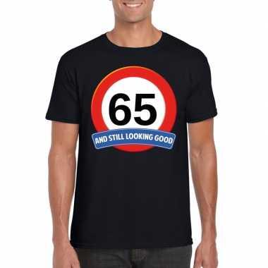 65 jaar verkeersbord t-shirt zwart volwassenen