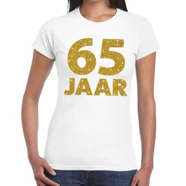 65e verjaardag cadeau t-shirt wit met goud voor dames