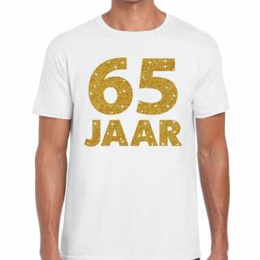 65e verjaardag cadeau t-shirt wit met goud voor heren