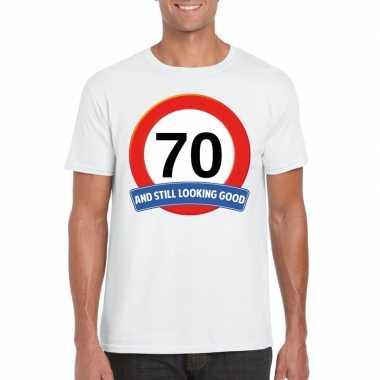 70 jaar verkeersbord t-shirt wit volwassenen