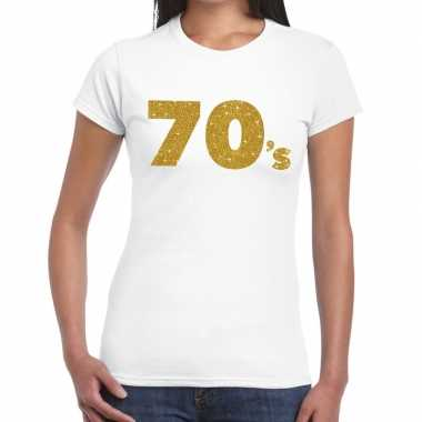 70's goud fun t-shirt wit voor dames