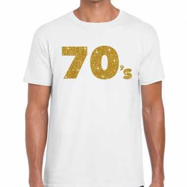 70's goud letters fun t-shirt wit voor heren