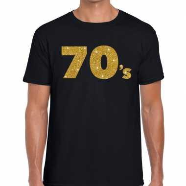 70's gouden letters fun t-shirt zwart voor heren