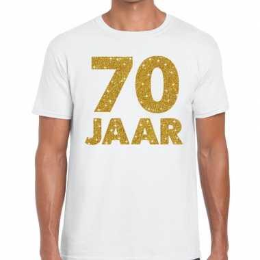 70e verjaardag cadeau t-shirt wit met goud voor heren