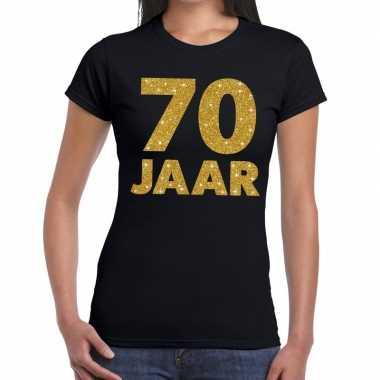 70e verjaardag cadeau t-shirt zwart met goud voor dames