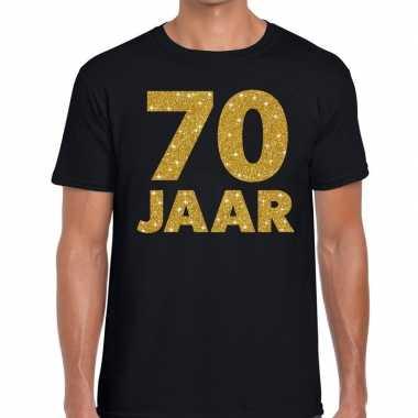 70e verjaardag cadeau t-shirt zwart met goud voor heren