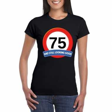 75 jaar verkeersbord t-shirt zwart dames