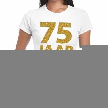 75e verjaardag cadeau t-shirt wit met goud voor dames