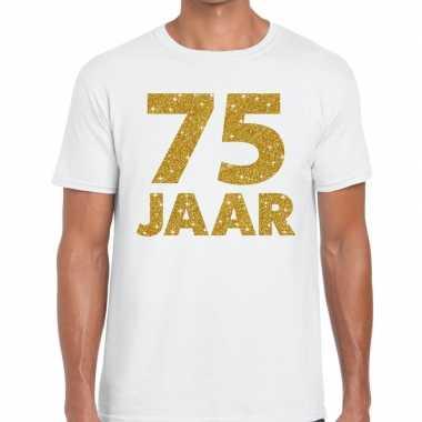 75e verjaardag cadeau t-shirt wit met goud voor heren
