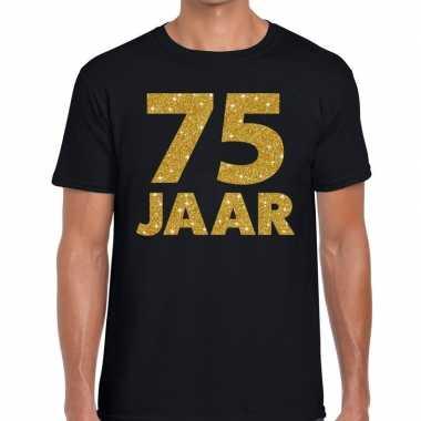 75e verjaardag cadeau t-shirt zwart met goud heren