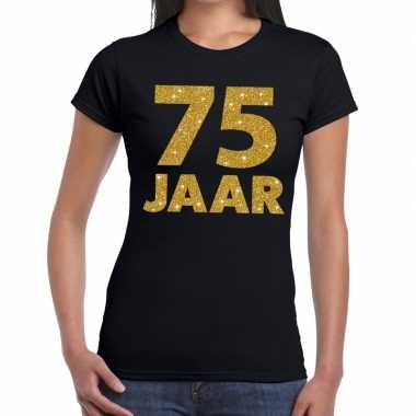 75e verjaardag cadeau t-shirt zwart met goud voor dames