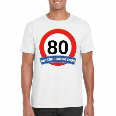 80 jaar verkeersbord t-shirt wit volwassenen
