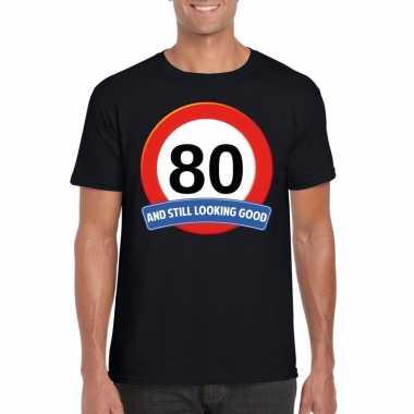 80 jaar verkeersbord t-shirt zwart volwassenen