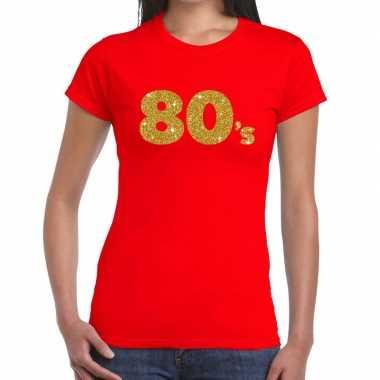 80's goud fun t-shirt rood voor dames