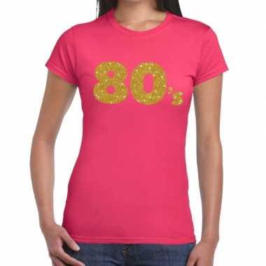 80's goud fun t-shirt roze voor dames