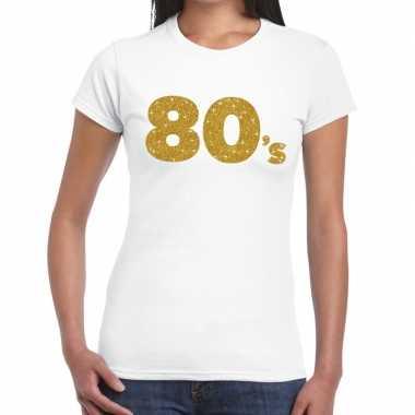 80's goud fun t-shirt wit voor dames