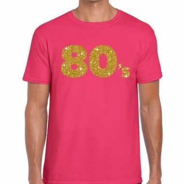 80's goud glitter tekst fun t-shirt roze voor heren