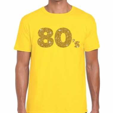 80's goud letters fun t-shirt geel voor heren