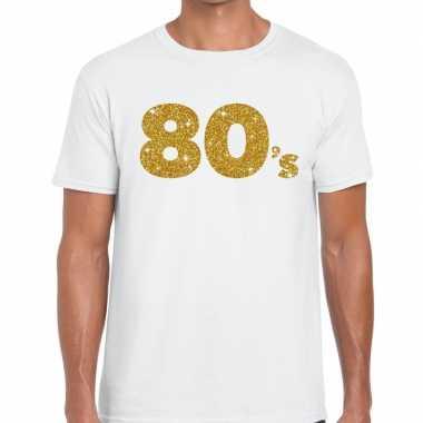 80's goud letters fun t-shirt wit voor heren