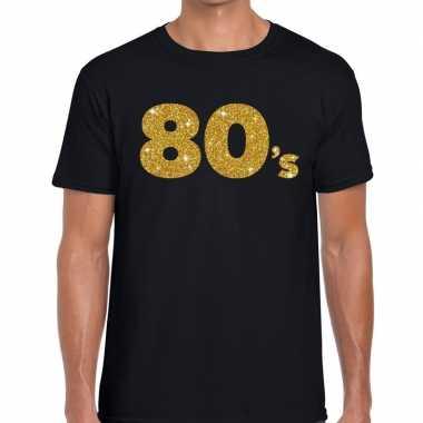 80's gouden letters fun t-shirt zwart voor heren