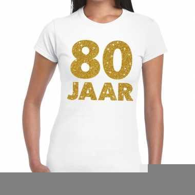 80e verjaardag cadeau t-shirt wit met goud voor dames