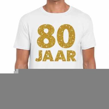 80e verjaardag cadeau t-shirt wit met goud voor heren