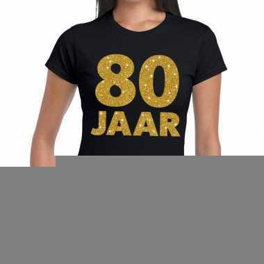 80e verjaardag cadeau t-shirt zwart met goud voor dames