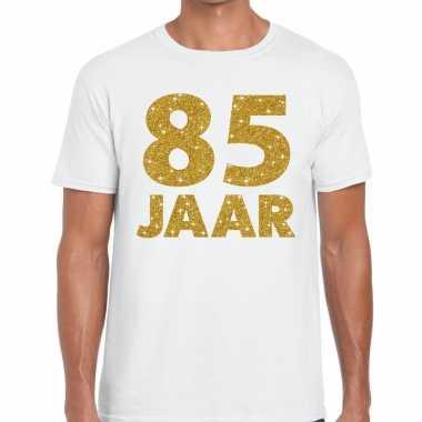 85e verjaardag cadeau t-shirt wit met goud voor heren