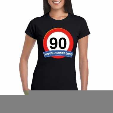 90 jaar verkeersbord t-shirt zwart dames