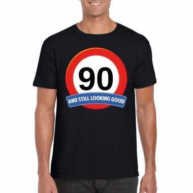 90 jaar verkeersbord t-shirt zwart volwassenen