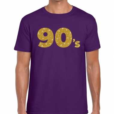 90's fun tekst t-shirt paars voor heren