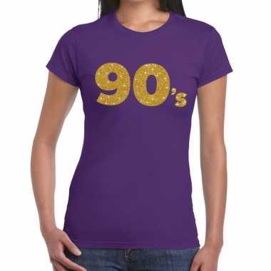90's goud fun t-shirt paars voor dames